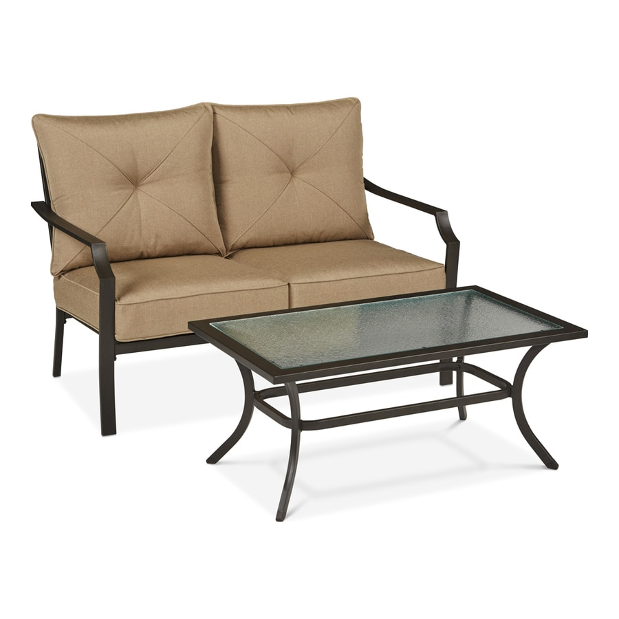 Garden Treasures Vinehaven 2-Piece Brown Steel Patio Conversation Set with Tan Cushions