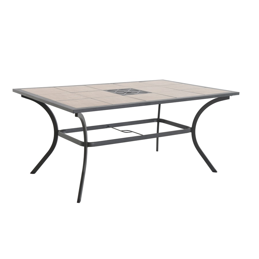 l 6 seat brown steel patio dining table with tile tabletop