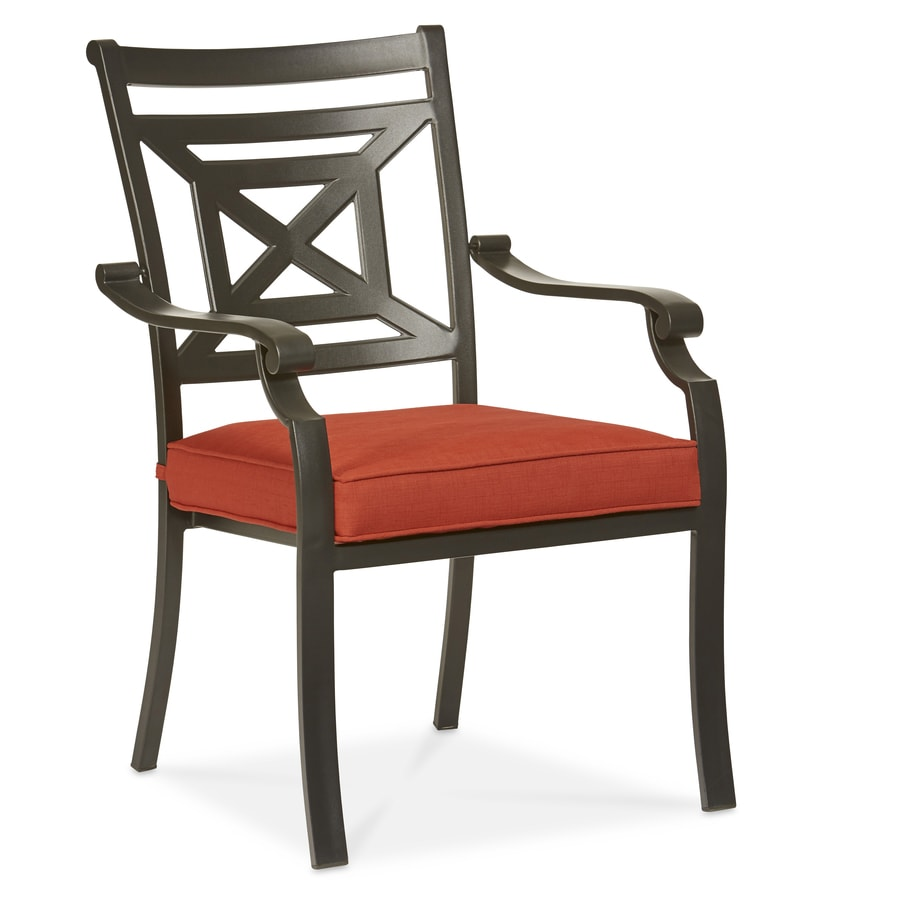black steel stackable patio dining chairs with red cushions at lowes