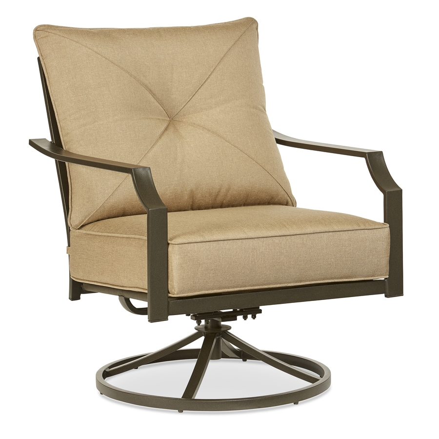 Garden Treasures Vinehaven Set of 2 Steel Swivel Patio Conversation Chairs with Cushions  sc 1 st  Loweu0027s : swivel patio chairs - Cheerinfomania.Com