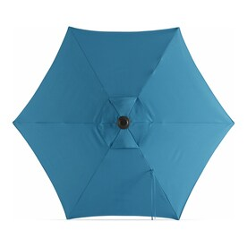 Garden Treasures Teal Market 7.5-ft No-tilt Round Patio Umbrella with Dark Brown Steel Frame
