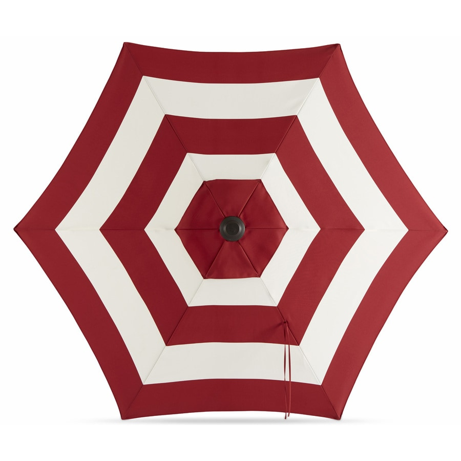 Garden Treasures Red Stripe Market Patio Umbrella