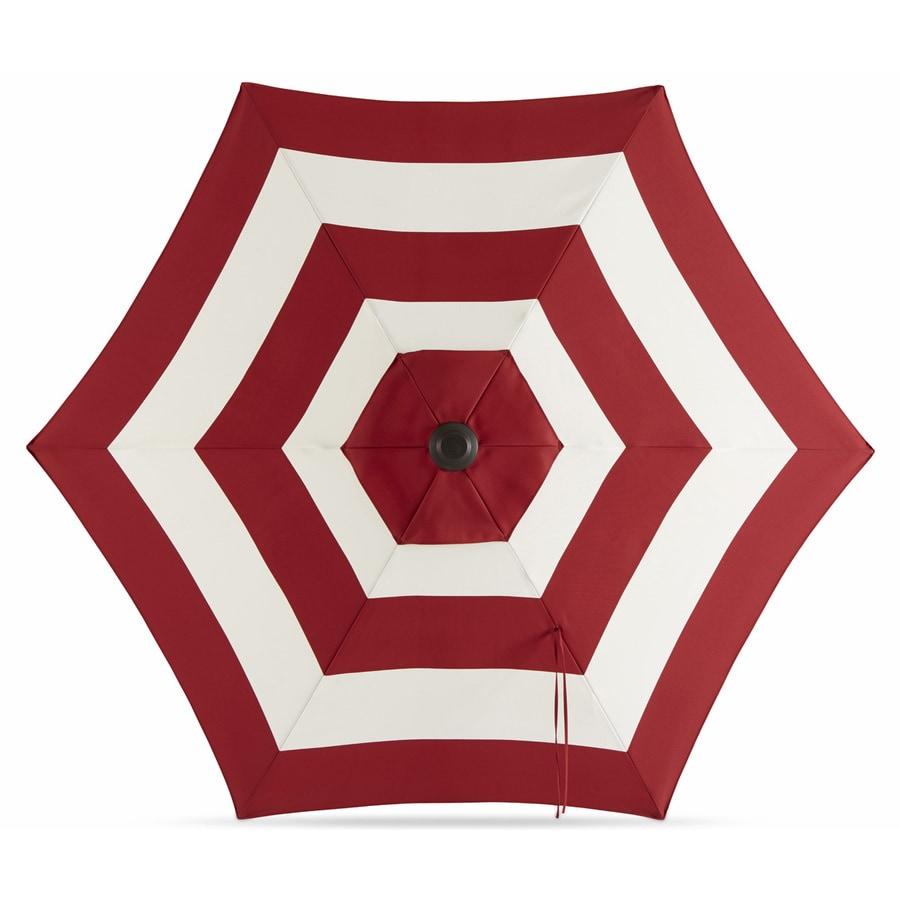 Garden Treasures Red Stripe Market Patio Umbrella (Common: 7.5-ft W x 7.5-ft L; Actual: 7.46-ft W x 7.34-ft L)
