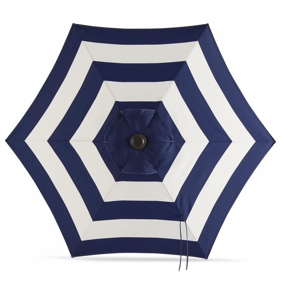 Garden Treasures Navy Stripe Market Patio Umbrella (Common: 7.5 Ft W X 7.5