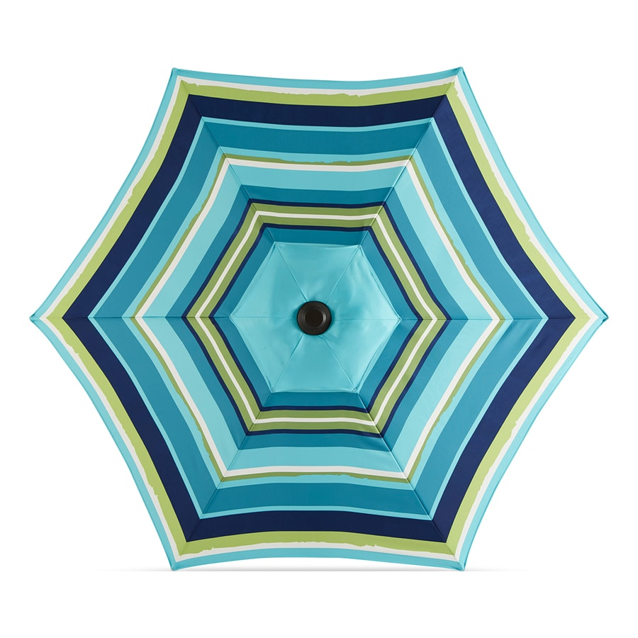 Garden Treasures Blue Multi Stripe Market 7.5 Ft Patio Umbrella