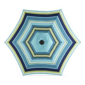 Garden Treasures Blue Multi-stripe Market 7.5-ft No-tilt Round Patio Umbrella with Dark Brown Steel Frame