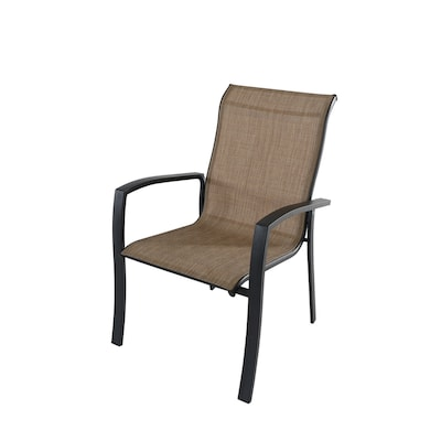 Garden Treasures Pelham Bay Stackable Metal Stationary Dining Chair(s) with Tan Sling Seat