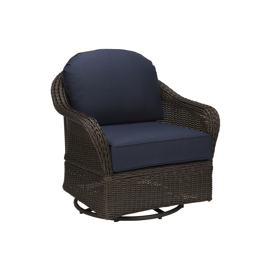 Allen roth mcaden set of 2 wicker metal swivel glider conversation chairs with blue cushioned seat