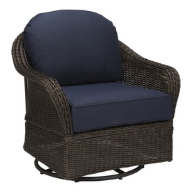 Allen Roth Mcaden Set Of 2 Wicker Steel Swivel Glider Conversation Chairs With Blue Cushions