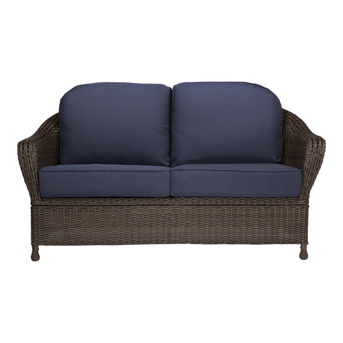Allen + roth McAden Wicker Outdoor Loveseat with Cushion and Steel Frame at  Lowes.com