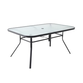 Style Selections Pelham Bay Rectangle Outdoor Dining Table 38-in W x 60-in L with Umbrella Hole