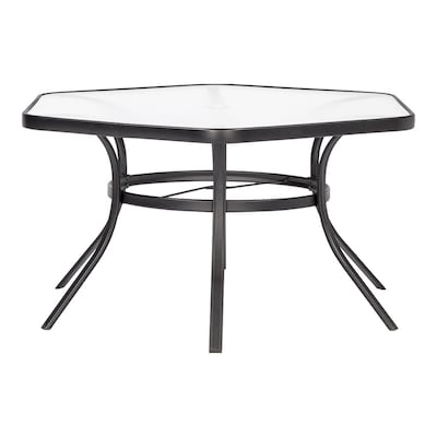 Cool Pelham Bay Hexagon Dining Table 50 In W X 56 In L With Umbrella Hole Dailytribune Chair Design For Home Dailytribuneorg