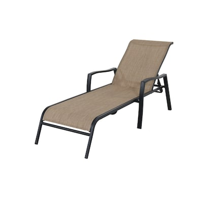 Pelham Bay Stackable Metal Stationary Chaise Lounge Chair S With Tan Sling Seat