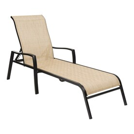 Garden Treasures Pelham Bay Stackable Metal Stationary Chaise Lounge Chair S With Tan Sling