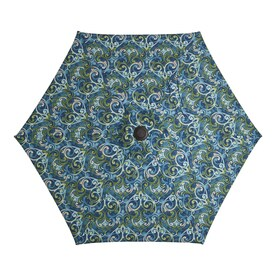 Garden Treasures Salito Marine Market 7.5-ft No-tilt Round Patio Umbrella with Dark Brown Steel Frame