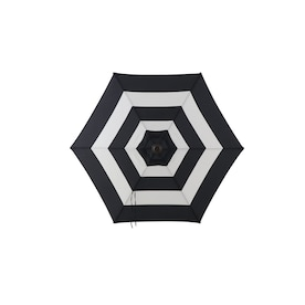 Garden Treasures Black and White Stripe Market 7.5-ft No-tilt Round Patio Umbrella with Black Steel Frame