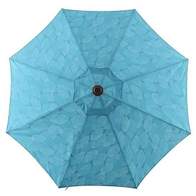 allen + roth Blue Leaf Market 9-ft Auto-tilt Round Patio Umbrella with Brown Woodgrain Aluminum Frame
