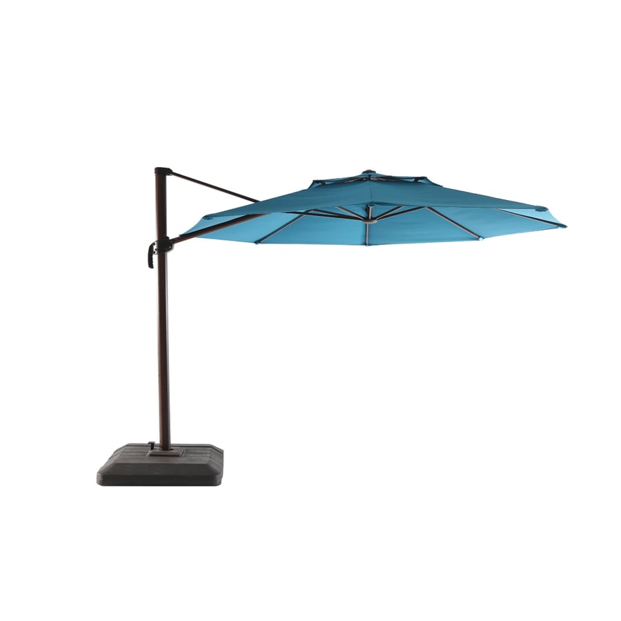 Allen Roth Aegean Blue Offset 11 Ft Push On Round Patio Umbrella With Brown Woodgrain Aluminum Frame Base Included