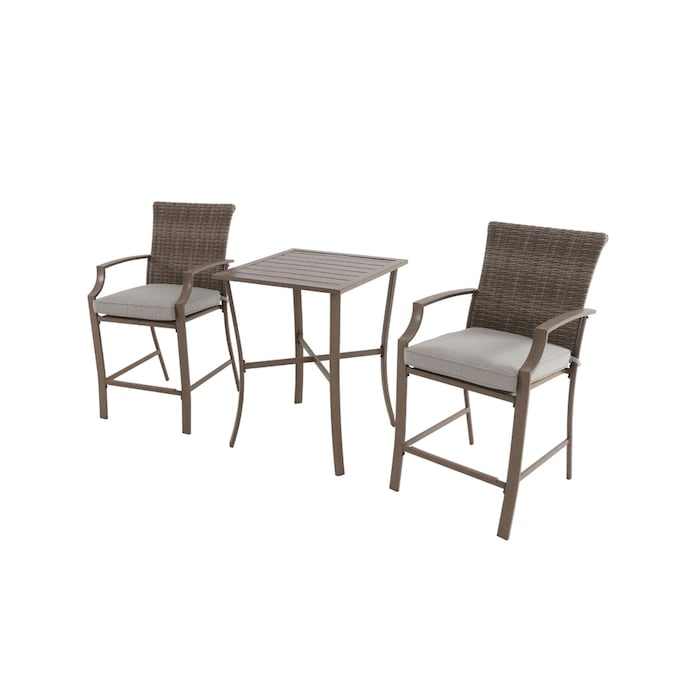 Garden Treasures Oakview Terrace 3 Piece Tan Frame Bar Height Patio Set With Tan Cushions Bar Height In The Patio Dining Sets Department At Lowes Com