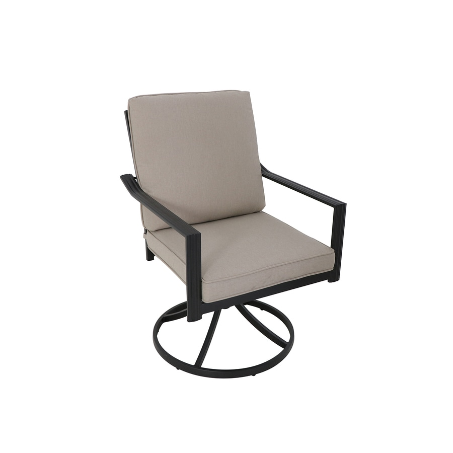 Style Selections Glenn Hill Set Of 2 Brown Metal Swivel Dining Chair S With Tan Cushioned Seat In The Patio Chairs Department At Lowes Com