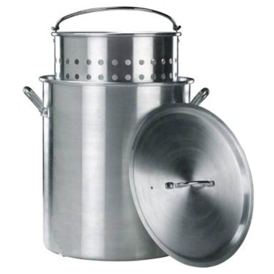 Kamp Kitchen 60-Quart Aluminum Stock Pot with Lid with Basket