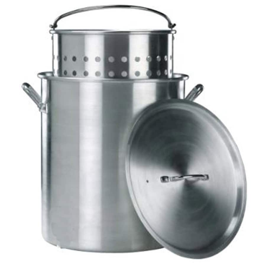 Kamp Kitchen 80-Quart Aluminum Stock Pot with Lid with Basket