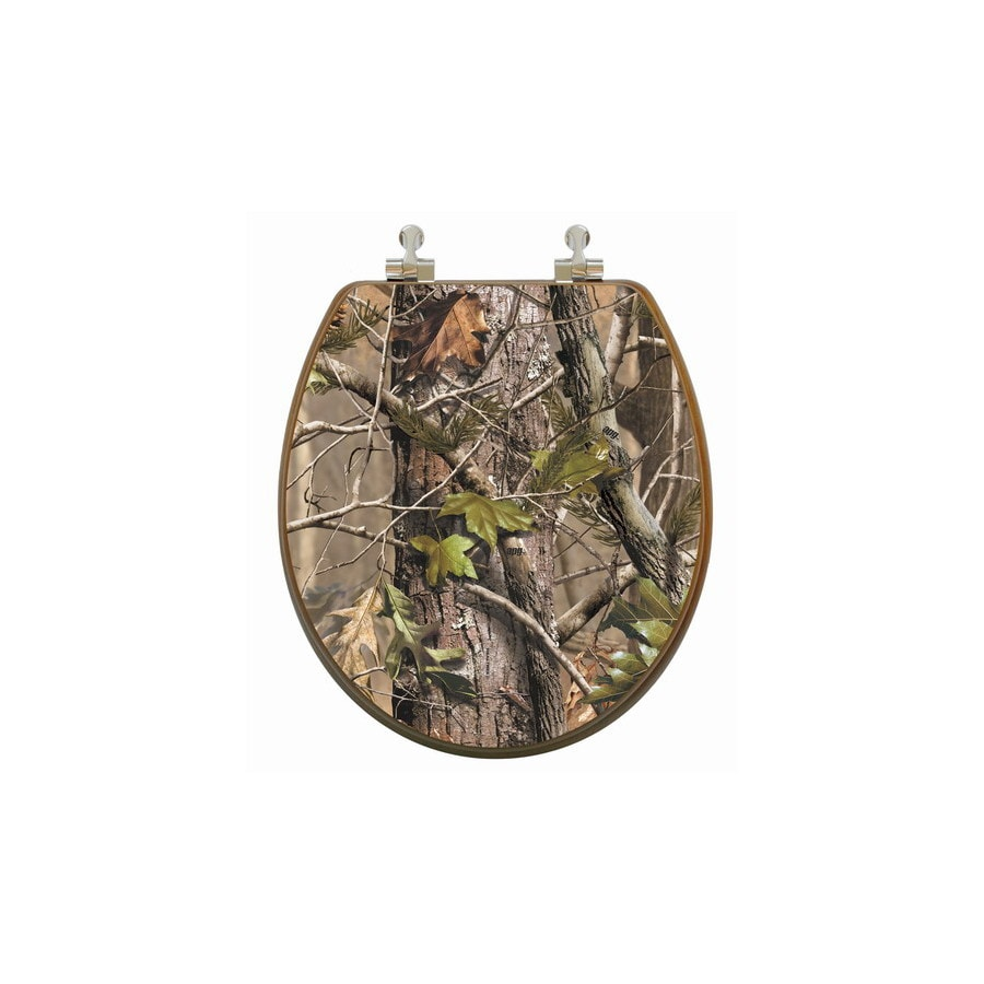 Topseat Upland Series Camouflage Wood Round Toilet Seat
