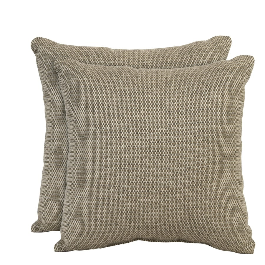 allen + roth Set of 2 Sunbrella Latte UV-Protected Square Outdoor Decorative Pillows