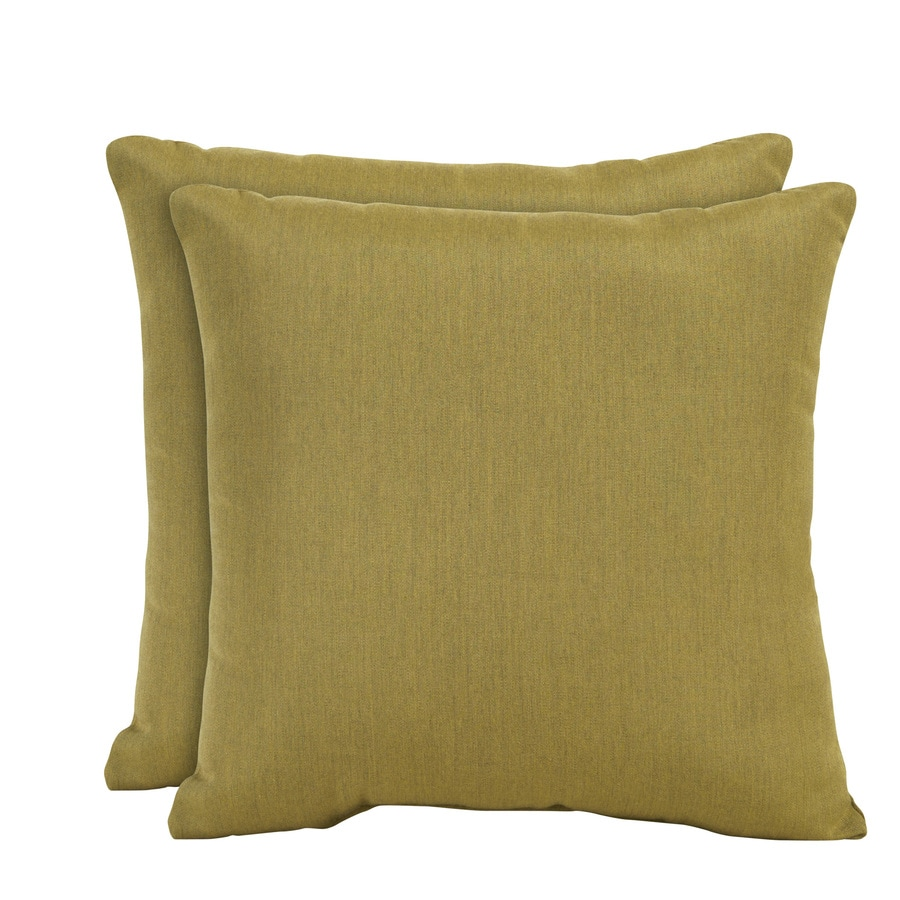 allen + roth Set of 2 Sunbrella Maize UV-Protected Square Outdoor Decorative Pillows