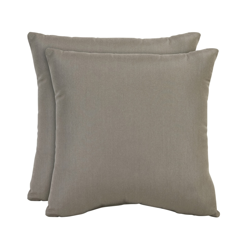 allen + roth Set of 2 Sunbrella Taupe UV-Protected Square Outdoor Decorative Pillows