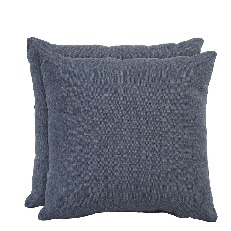 allen + roth Set of 2 Sunbrella Denim UV-Protected Square Outdoor Decorative Pillows