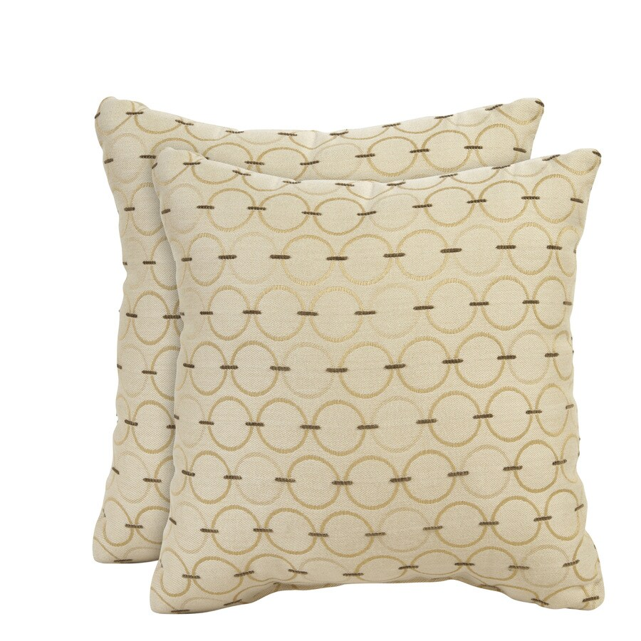 allen + roth Set of 2 Sunbrella Cream UV-Protected Square Outdoor Decorative Pillows