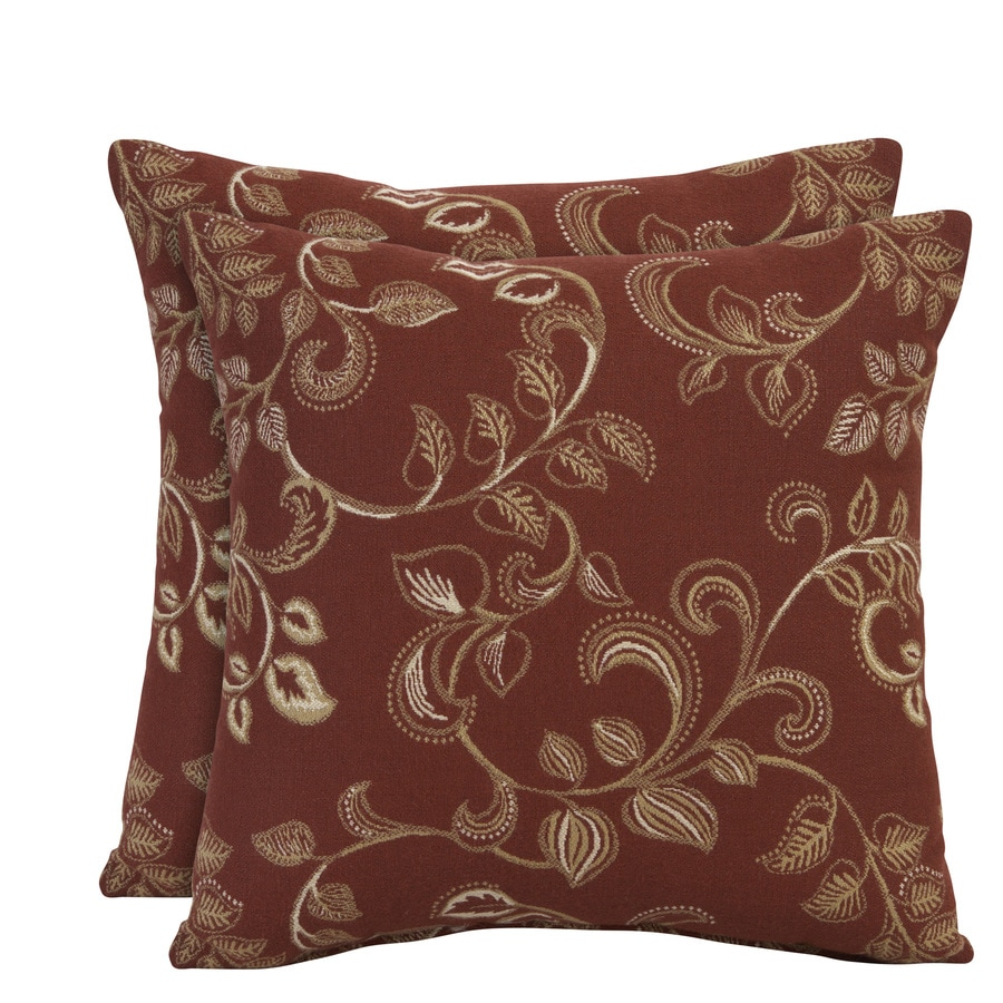allen + roth Set of 2 Sunbrella Eureka Henna UV-Protected Outdoor Decorative Pillows