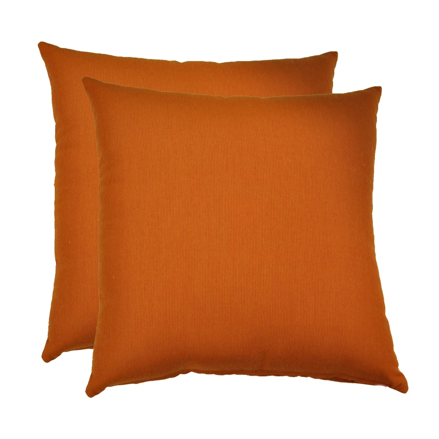 allen + roth Set of 2 Sunbrella Cayenne UV-Protected Square Outdoor Decorative Pillows