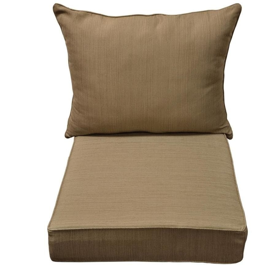 Shop allen roth outdoor square solid natural wheat deep for Garden furniture cushions