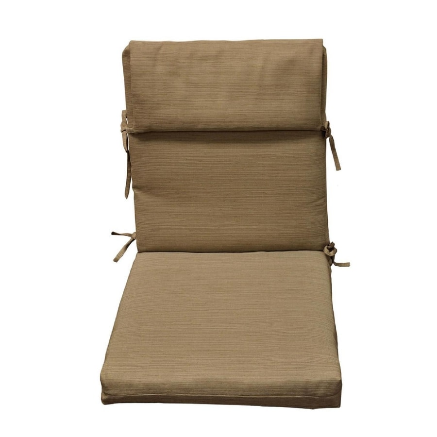 allen + roth Outdoor Rectangle Solid Natural/Wheat High Back Patio Chair Cushion