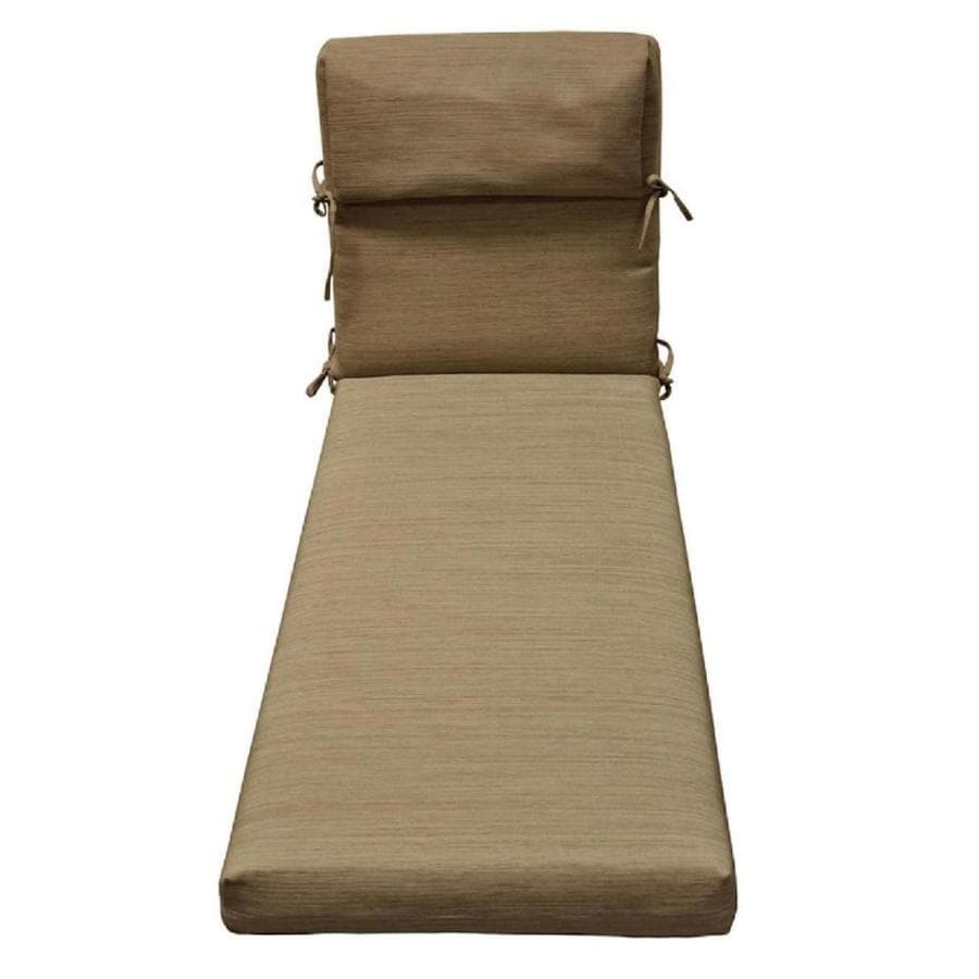 Shop allen roth natural wheat texture standard patio for Chaise longue cushion