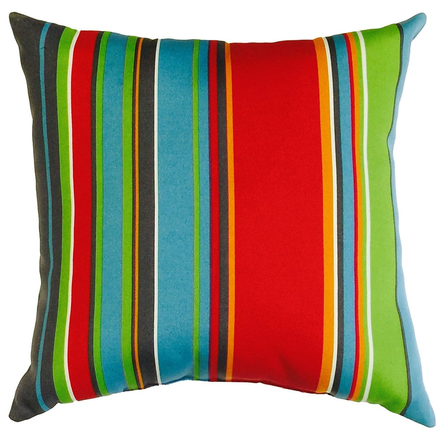 Garden Treasures Stripe and Striped Square Throw Pillow Outdoor Decorative Pillow