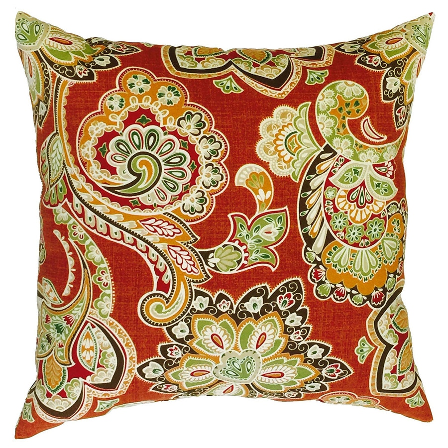 Allen + Roth Floral Square Throw Outdoor Decorative Pillow