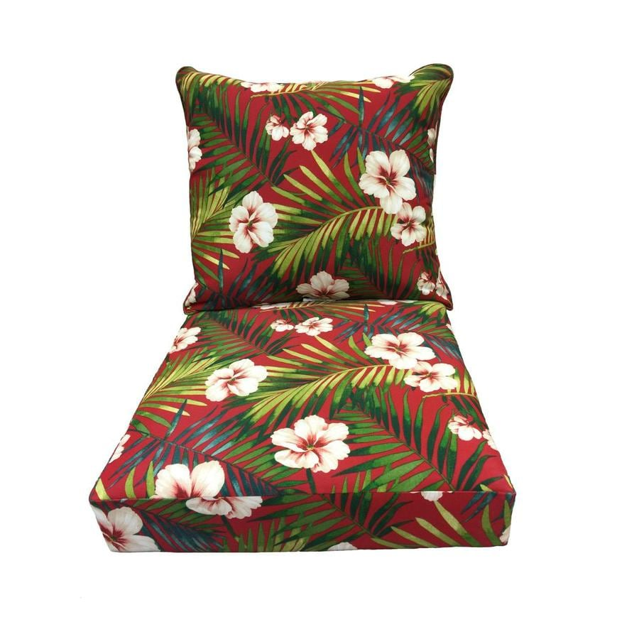 Shop garden treasures red floral cushion for deep seat - Garden treasures replacement cushions ...