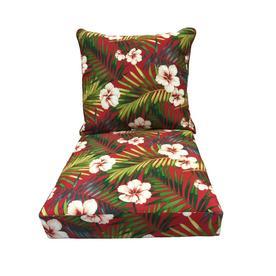 Garden Treasures 1 Piece Red Deep Seat Patio Chair Cushion