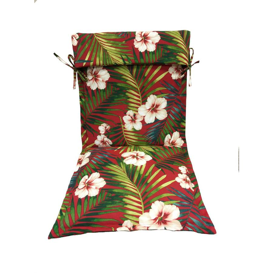 Garden Treasures Red Floral Standard Patio Chair Cushion for Sling Chair