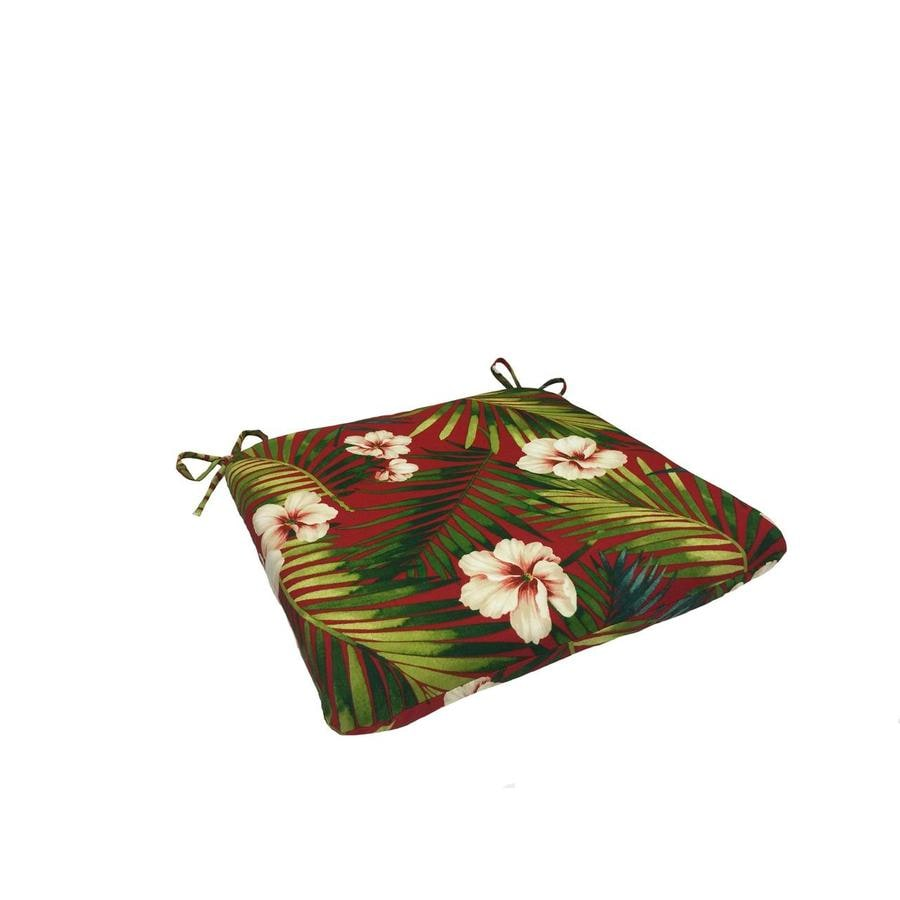 Garden Treasures Red Floral Seat Pad for Bistro Chair