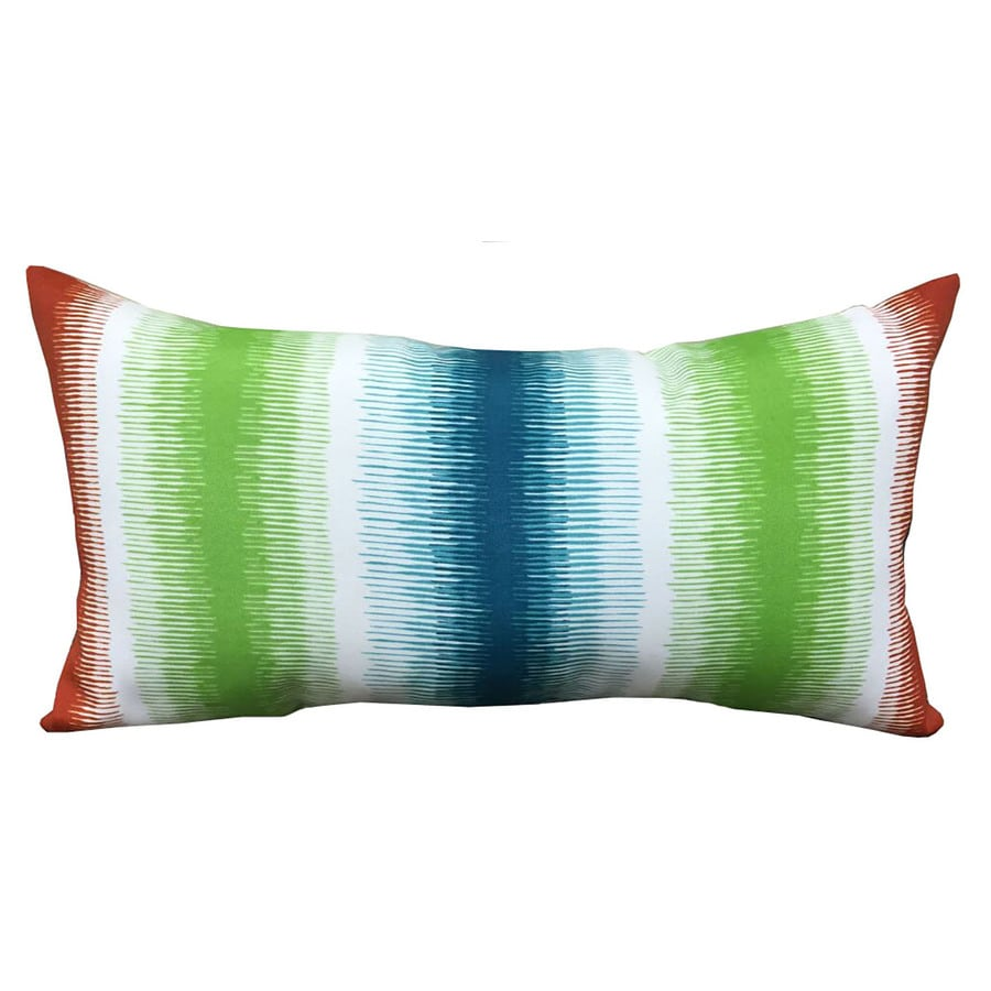Garden Treasures Red and Red Stripe Square Lumbar Outdoor Decorative Pillow