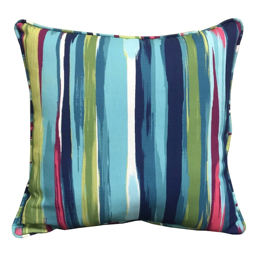 Decorative Pillow Covers Lowes : Shop allen + roth Stripe and Striped Square Throw Pillow Outdoor Decorative Pillow at Lowes.com