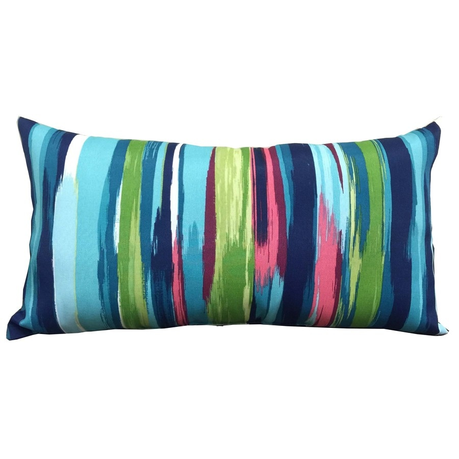 Blue Rectangular Throw Pillows : Shop allen + roth Blue and Striped Rectangular Lumbar Pillow Outdoor Decorative Pillow at Lowes.com