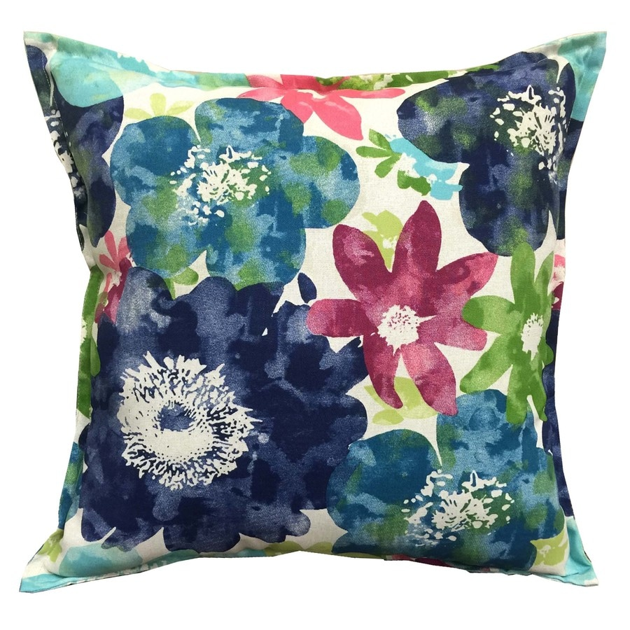 Shop allen + roth Blue and Floral Square Throw Pillow Outdoor Decorative Pillow at Lowes.com