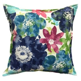 Awesome Allen + Roth Blue And Floral Square Throw Pillow Outdoor Decorative Pillow