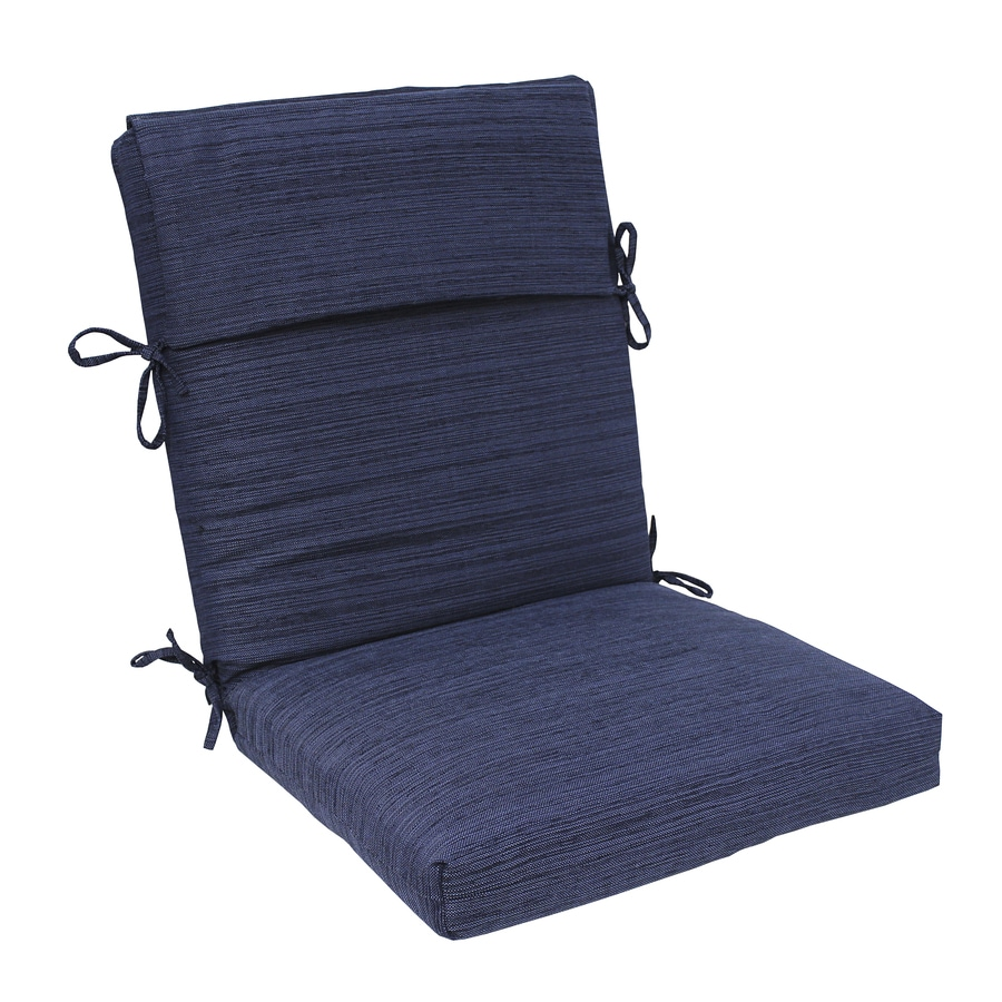 Allen Roth Navy Texture High Back Patio Chair Cushion For