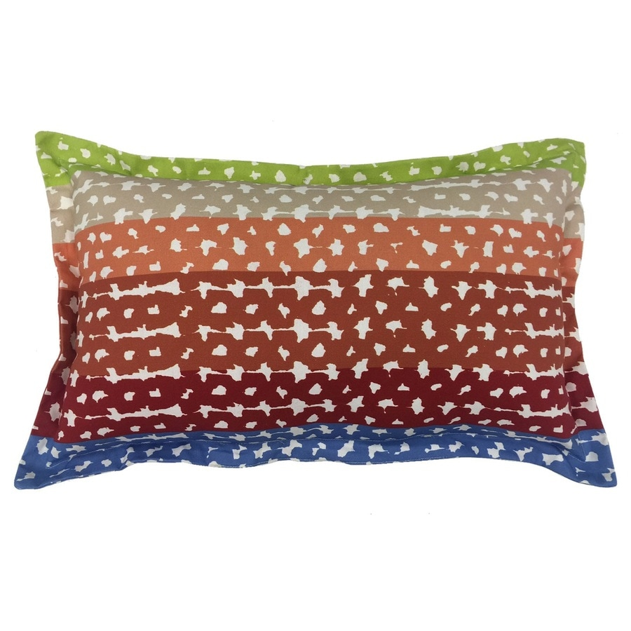 Decorative Lumbar Pillows Green : Shop allen + roth Red and Green Geometric Rectangular Lumbar Pillow Outdoor Decorative Pillow at ...